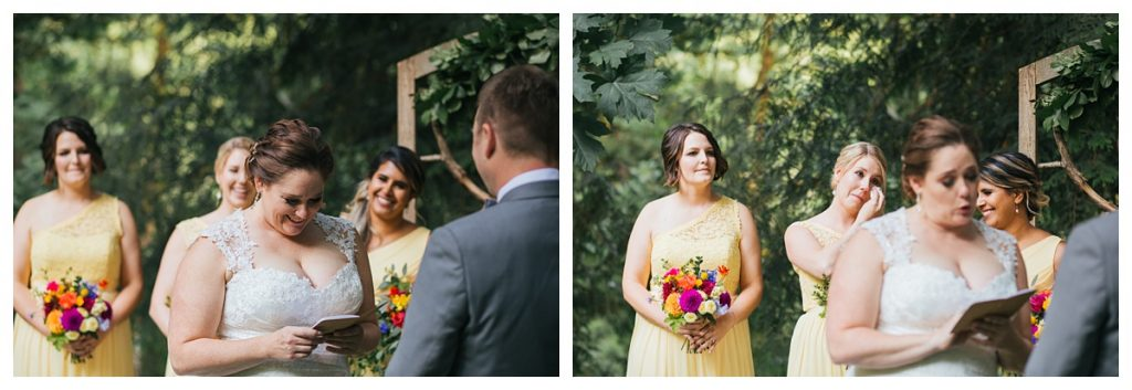TreeHouse Point Wedding bride reading vows during ceremony