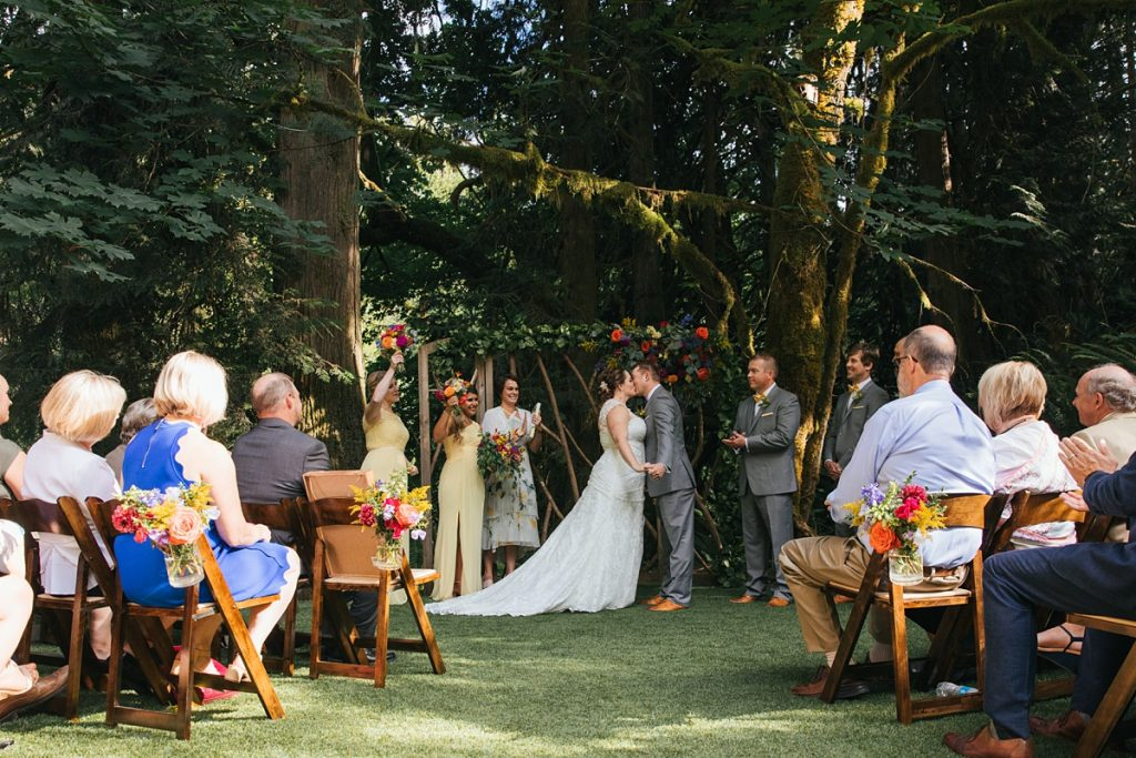 TreeHouse Point Wedding first kiss at ceremony