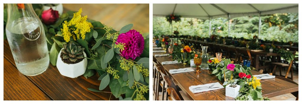 TreeHouse Point Wedding floratherapie and seattle farm table closeups for dinner reception
