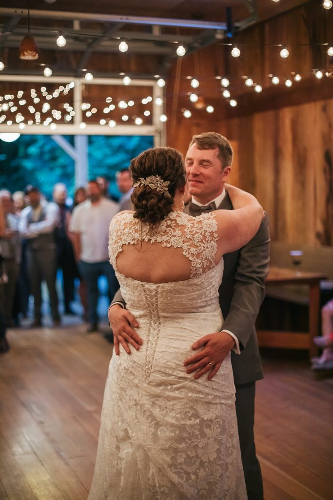 TreeHouse Point Wedding first dance between bride and groom