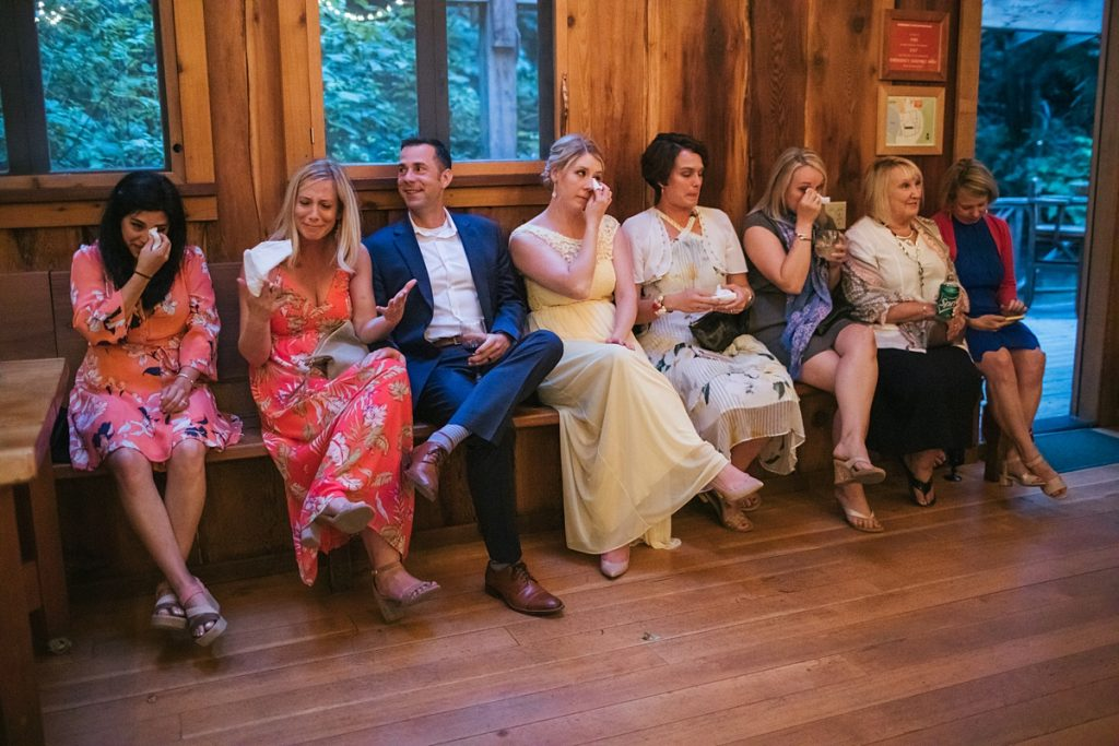 TreeHouse Point Wedding guests crying at bride and groom dance