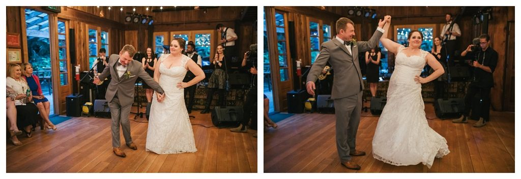 TreeHouse Point Wedding bride and groom bowing after their first dance