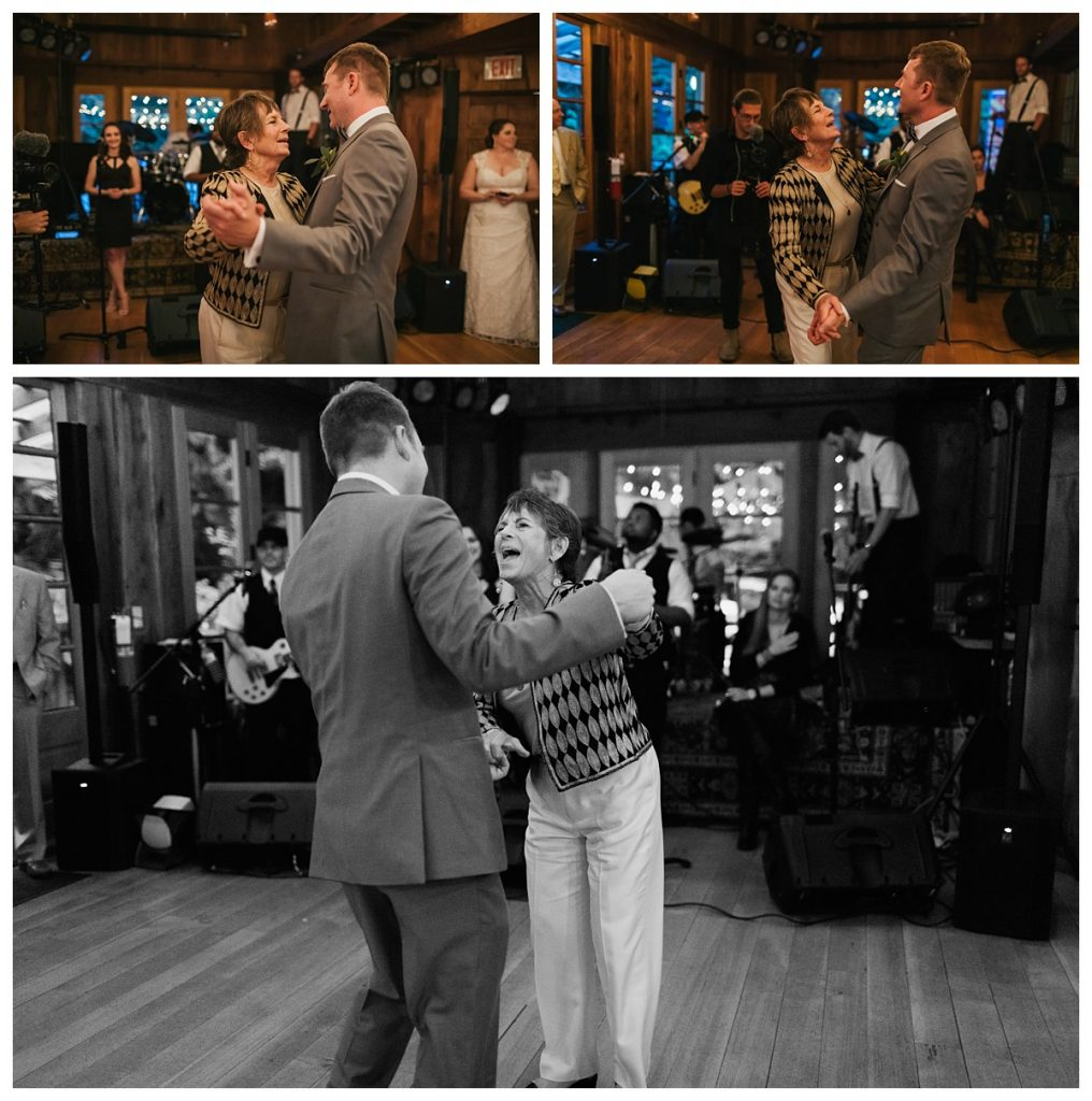 TreeHouse Point Wedding silly mother son first dance