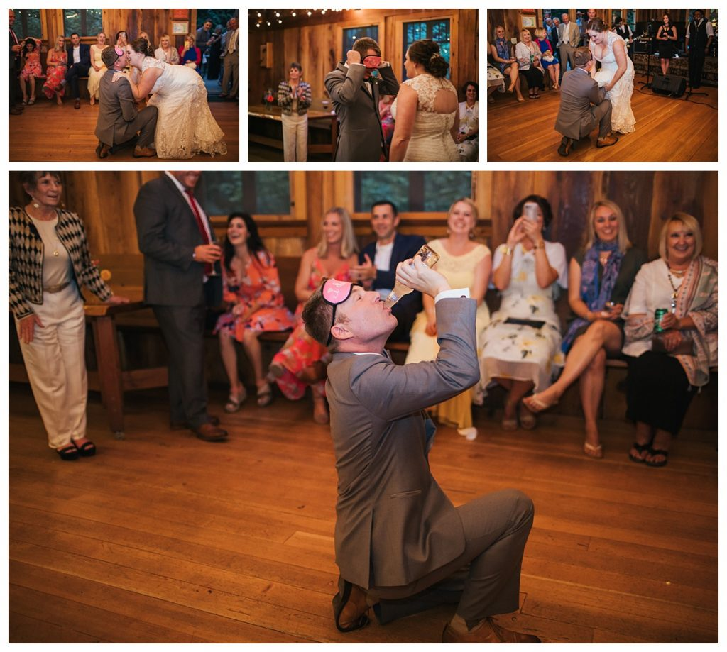 TreeHouse Point Wedding groom gets iced at wedding reception party