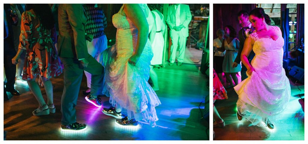 TreeHouse Point Wedding bride and groom have light up shoes to dance with at their wedding reception