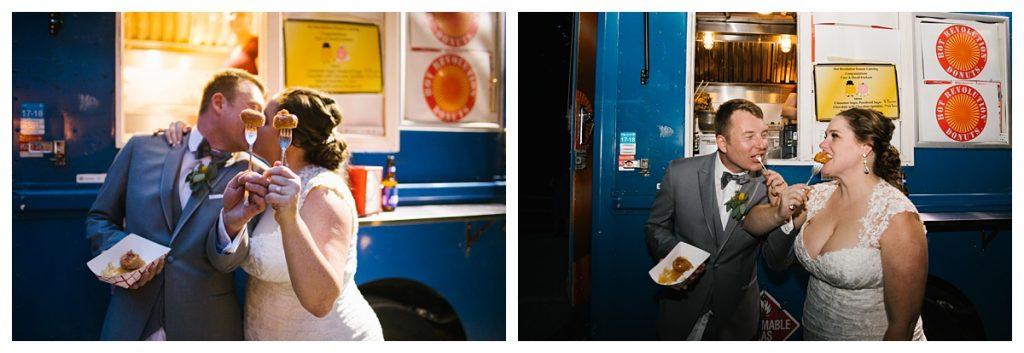 TreeHouse Point Wedding bride and groom enjoying Hot Revolution Donuts