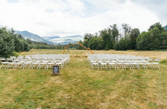 Wandering Waters and Mt Baker Wedding ceremony site with wood mountain arch