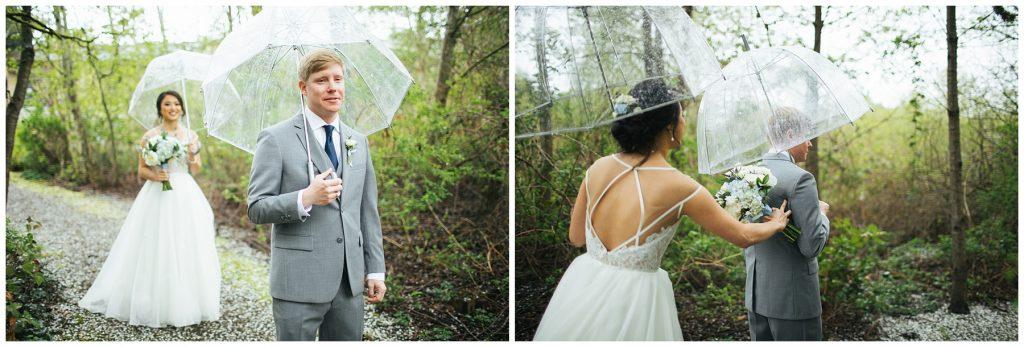 Cedarbrook Lodge Wedding rainy first look
