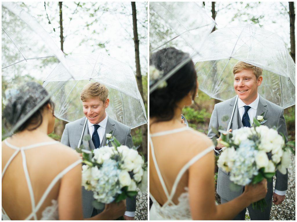 Cedarbrook Lodge Wedding rainy first look between bride and groom