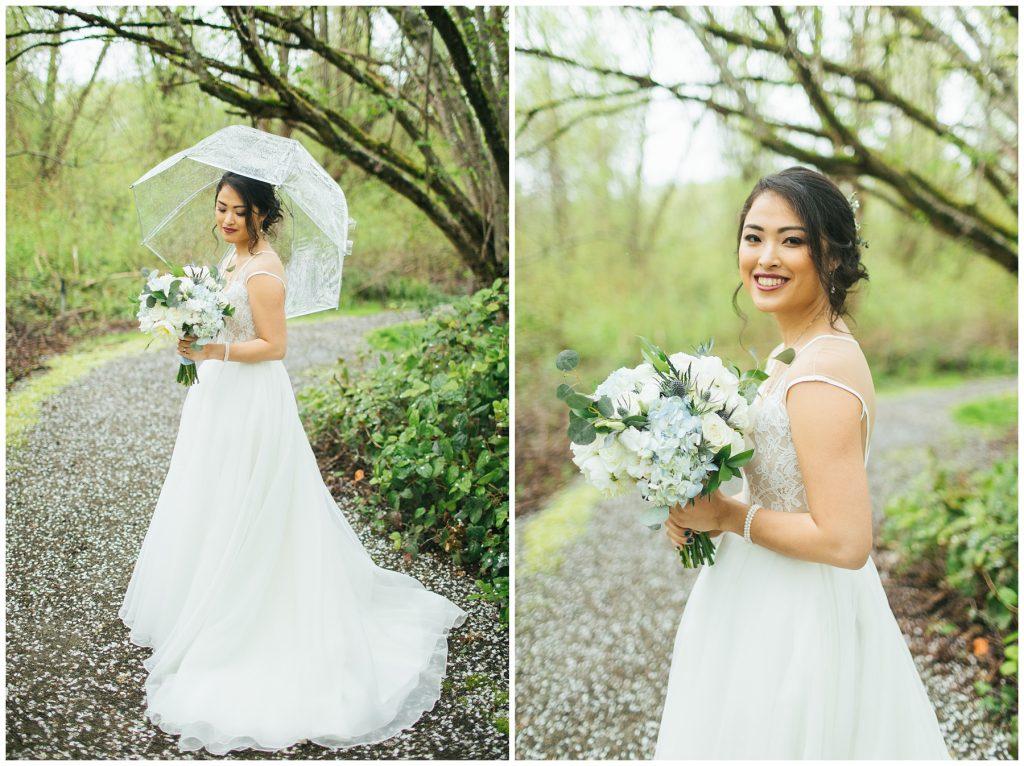 Cedarbrook Lodge Wedding rainy bridal portraits with umbrella