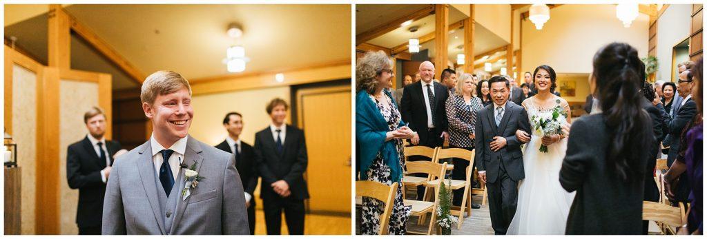 Cedarbrook Lodge Wedding groom watching bride walk down aisle