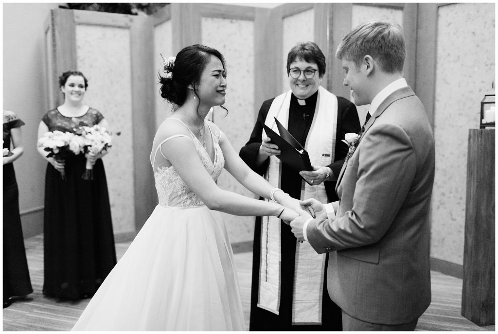 Cedarbrook Lodge Wedding bride and groom during ceremony