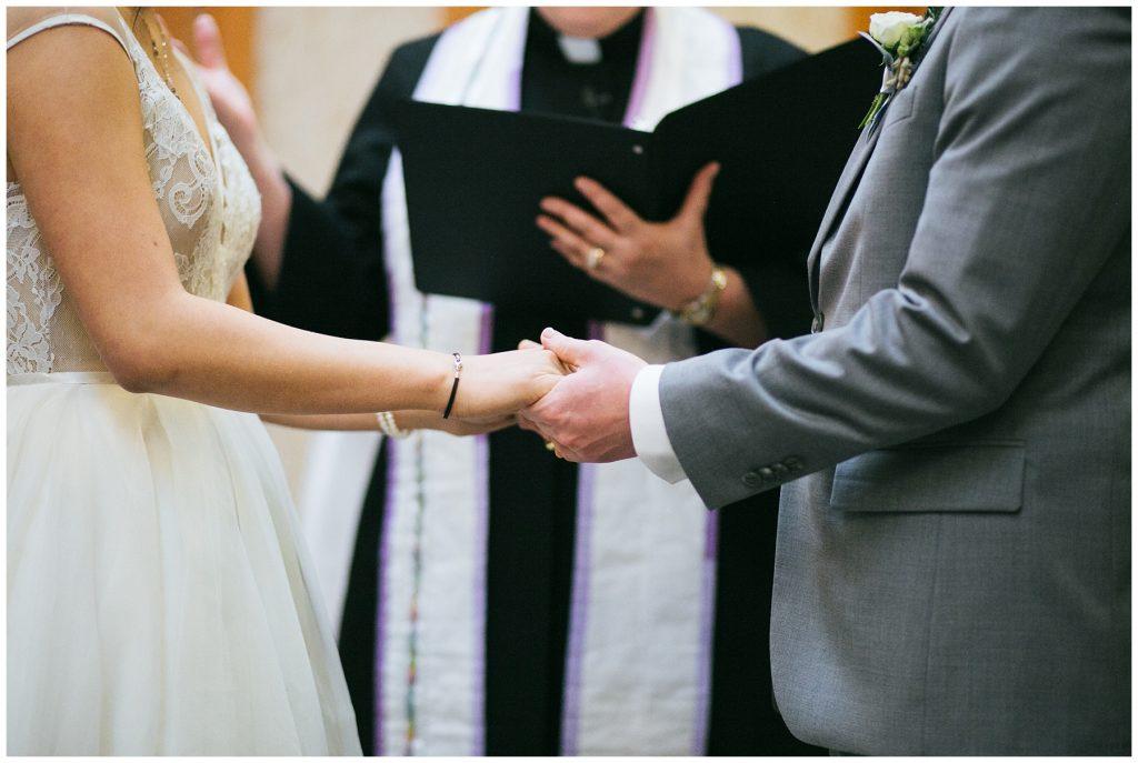 Cedarbrook Lodge Wedding bride and groom during wedding ceremony
