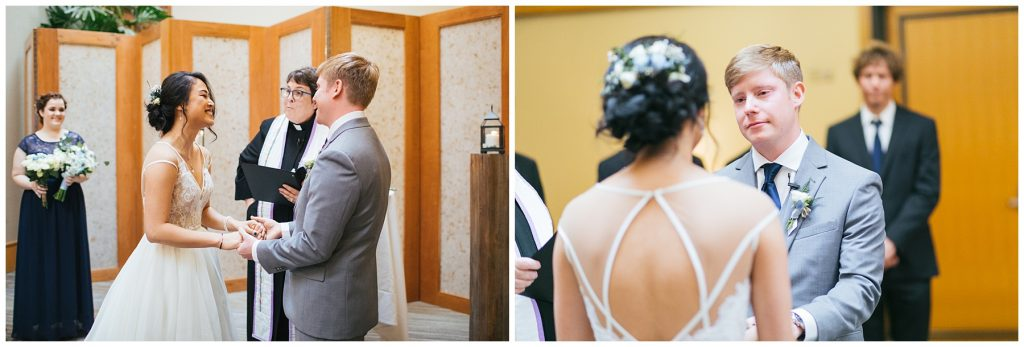Cedarbrook Lodge Wedding bride and groom during wedding ceremony