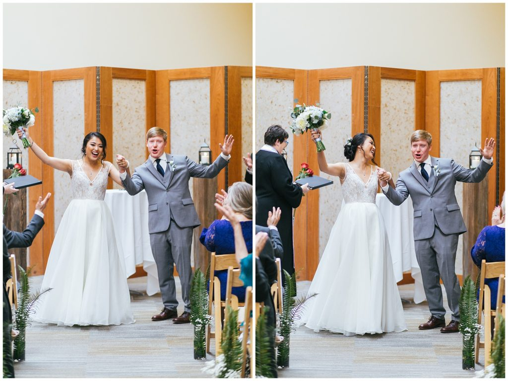 Cedarbrook Lodge Wedding bride and groom celebrate going back down aisle