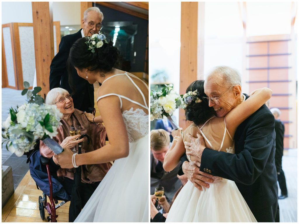 Cedarbrook Lodge Wedding happy grandparents hugging their new granddaughter