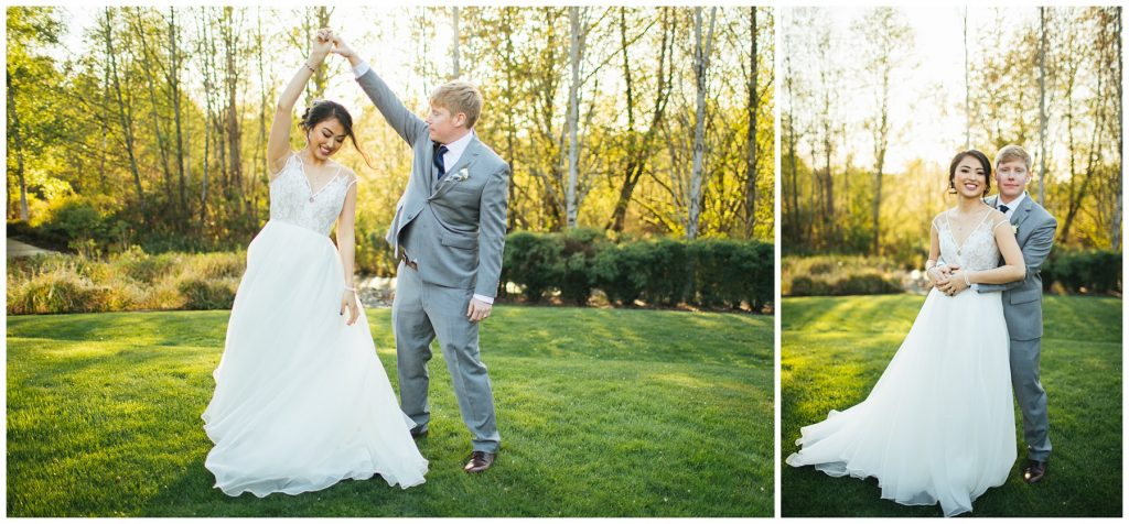 Cedarbrook Lodge Wedding bride and groom portraits at golden hour