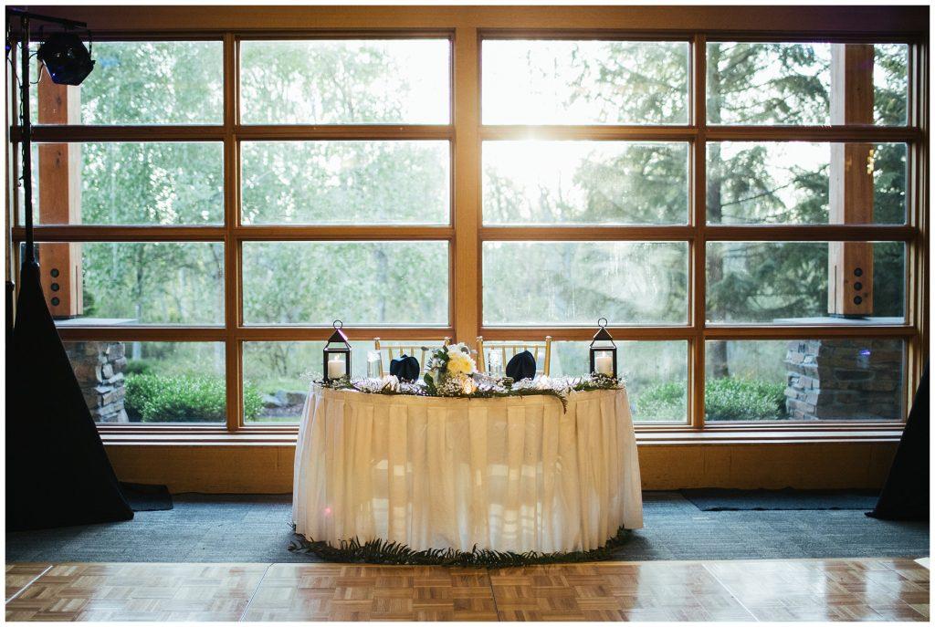 Cedarbrook Lodge Wedding reception decor, head table