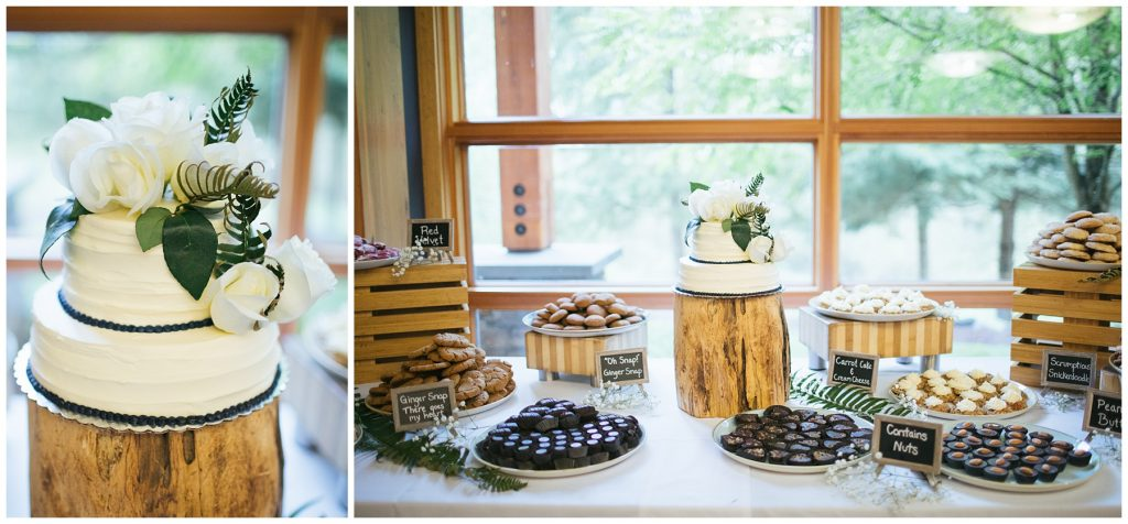 Cedarbrook Lodge Wedding reception details, details of wedding cake and treats