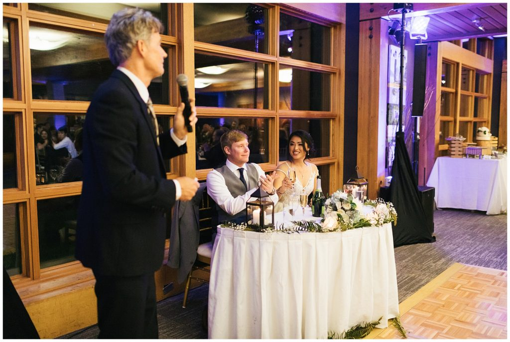 Cedarbrook Lodge Wedding toasts, father of the groom