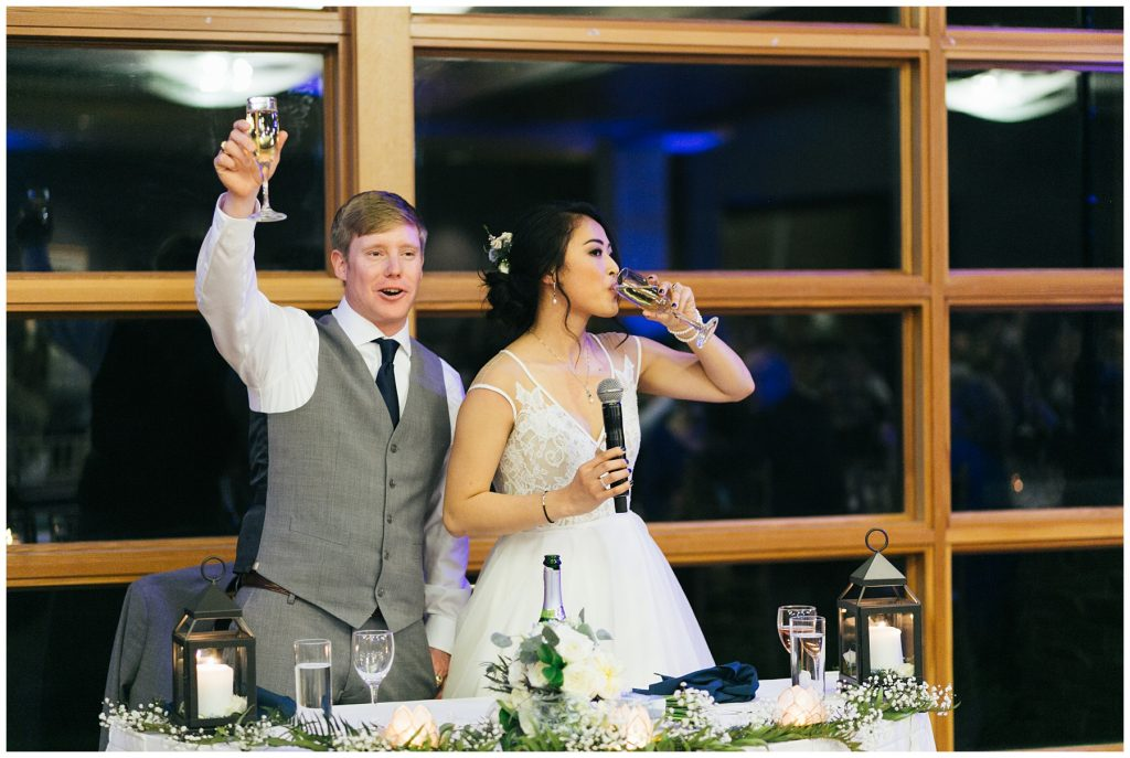 Cedarbrook Lodge Wedding bride and groom toast