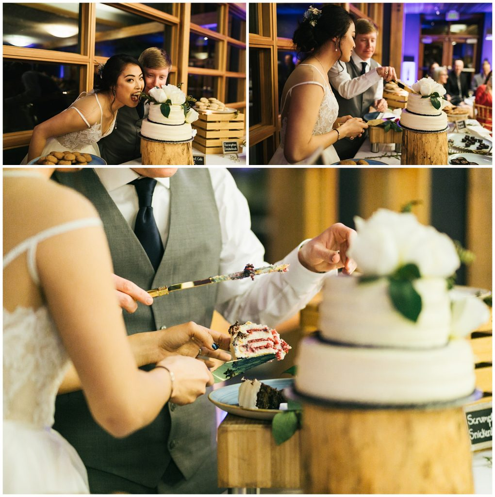 Cedarbrook Lodge Wedding bride and groom cut cake