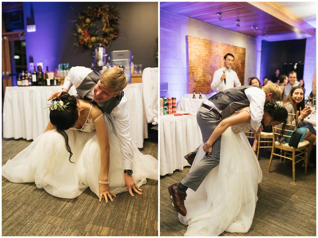 Cedarbrook Lodge Wedding bride and groom playing games, bride has groom on her back