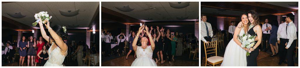 Cedarbrook Lodge Wedding bouquet toss