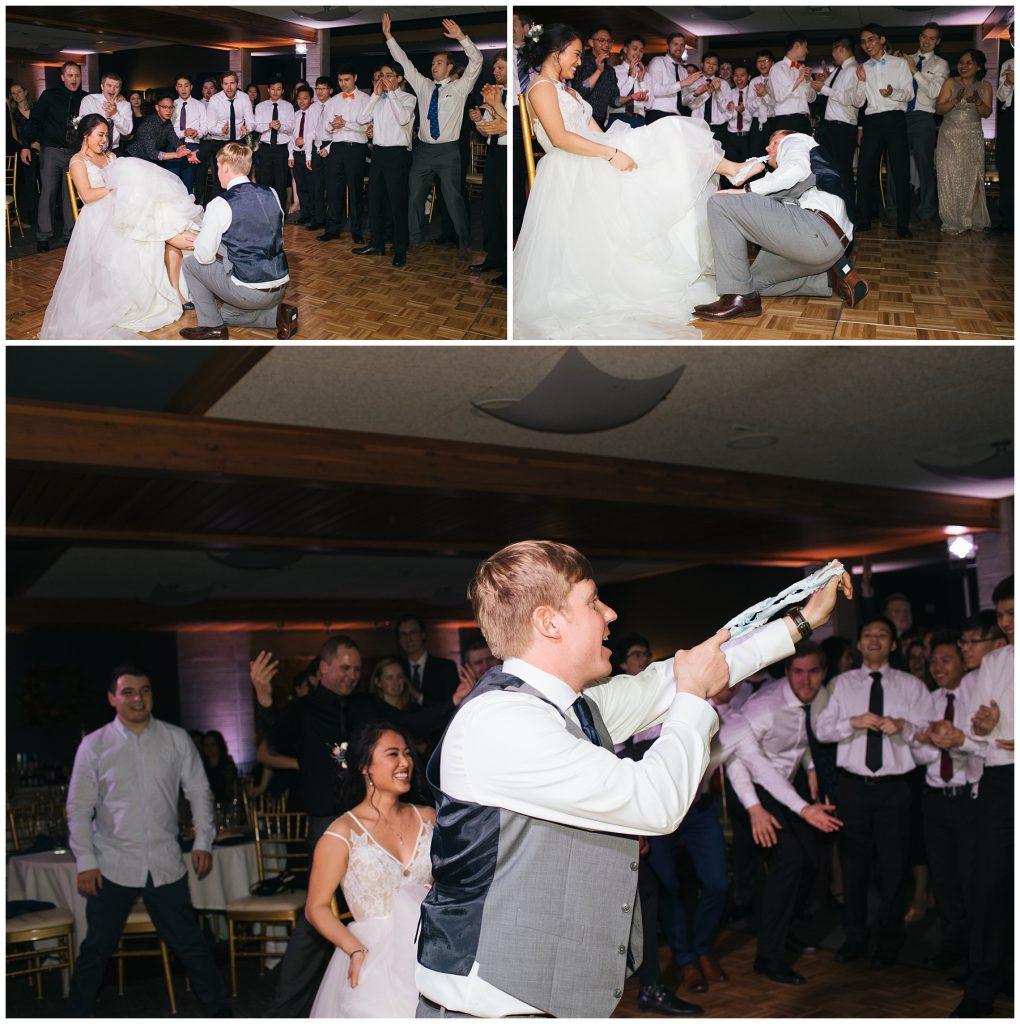 Cedarbrook Lodge Wedding garter toss