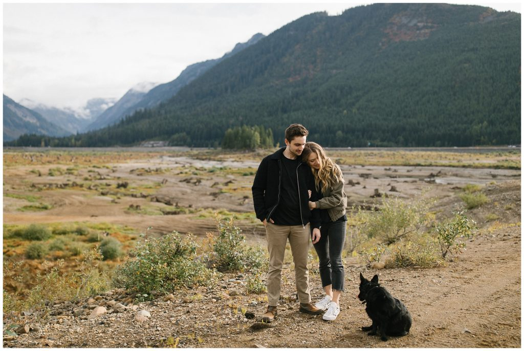 Snoqualmie Pass Lake Keechelus Engagement Session with pup