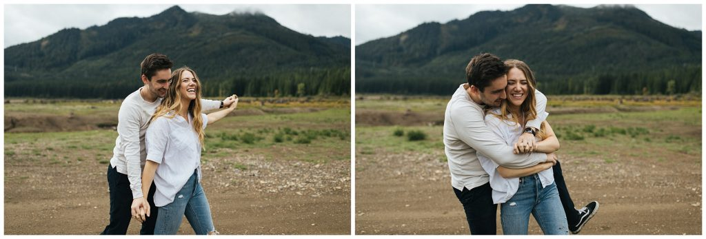 Snoqualmie Pass Lake Keechelus Engagement Session couple goofy walking together