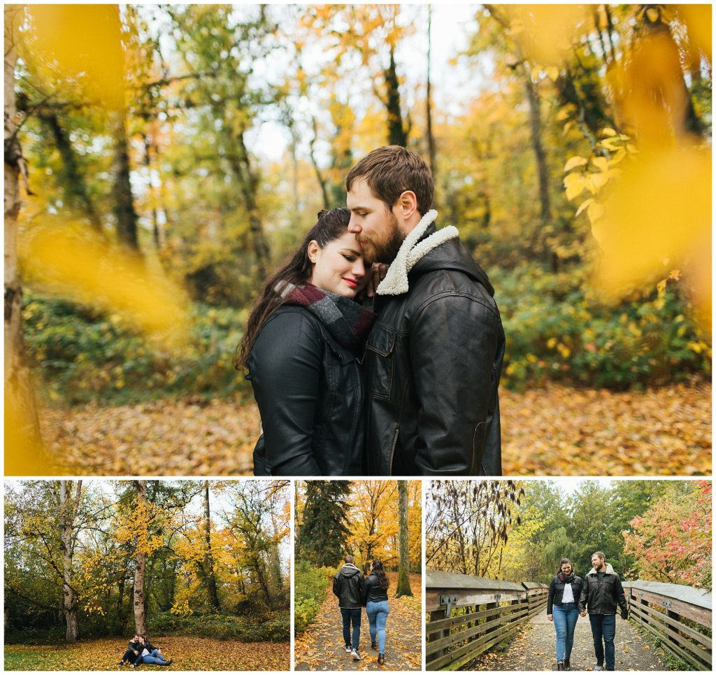 Washington Park arboretum engagement photos in the fall with golden leaves
