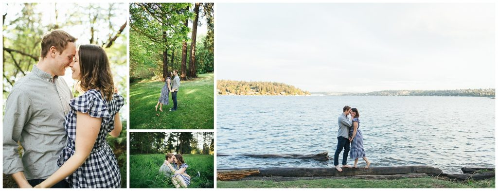 Seward Park engagement photos, photos in forest, tall grass and by the water.