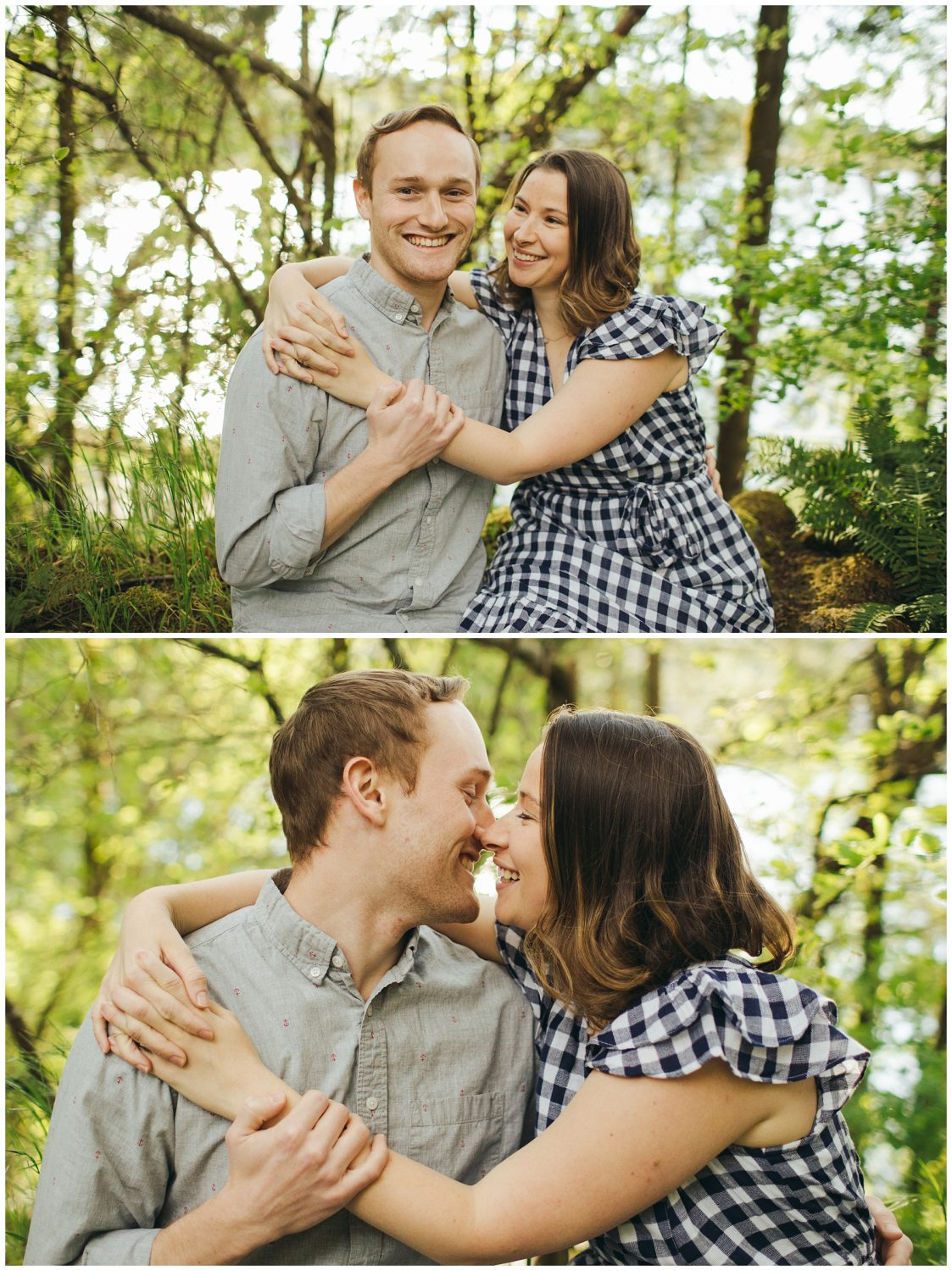 Seward engagement session couple sitting and looking at each other