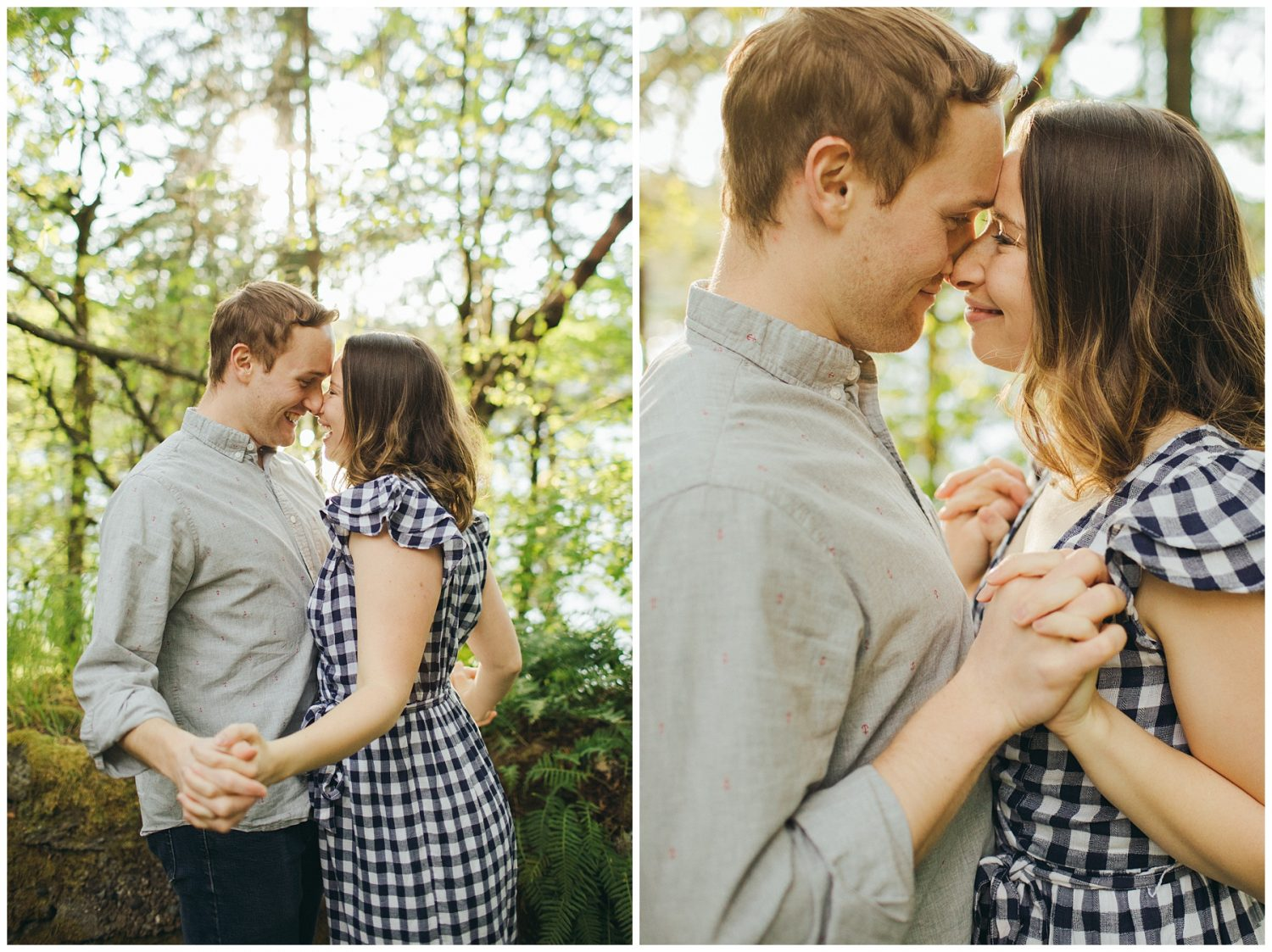 Seward engagement session couple holding hands close to chest and smiling at eachother