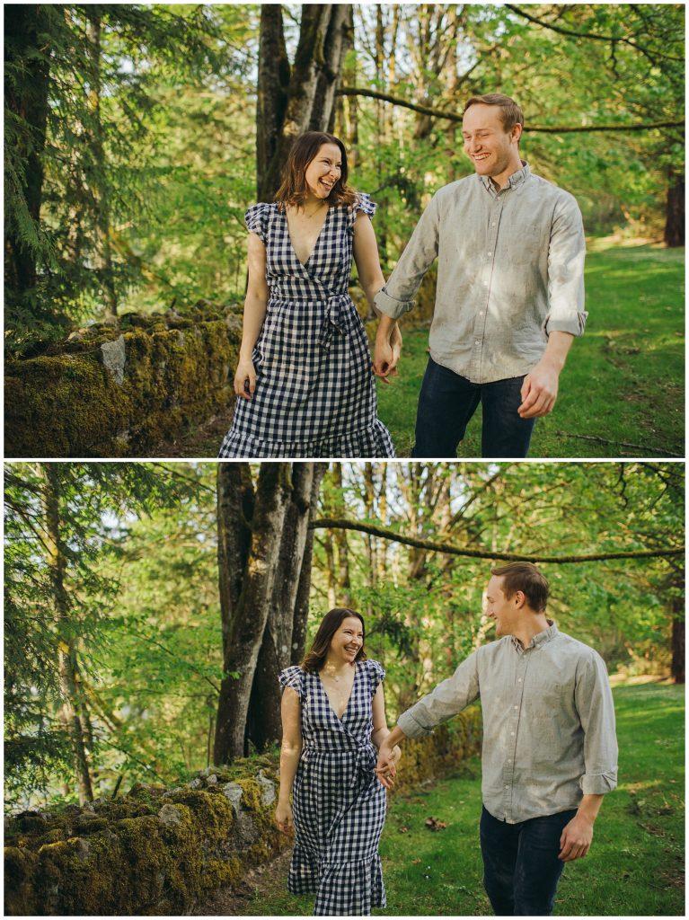 Seward engagement session couple walking holding hands