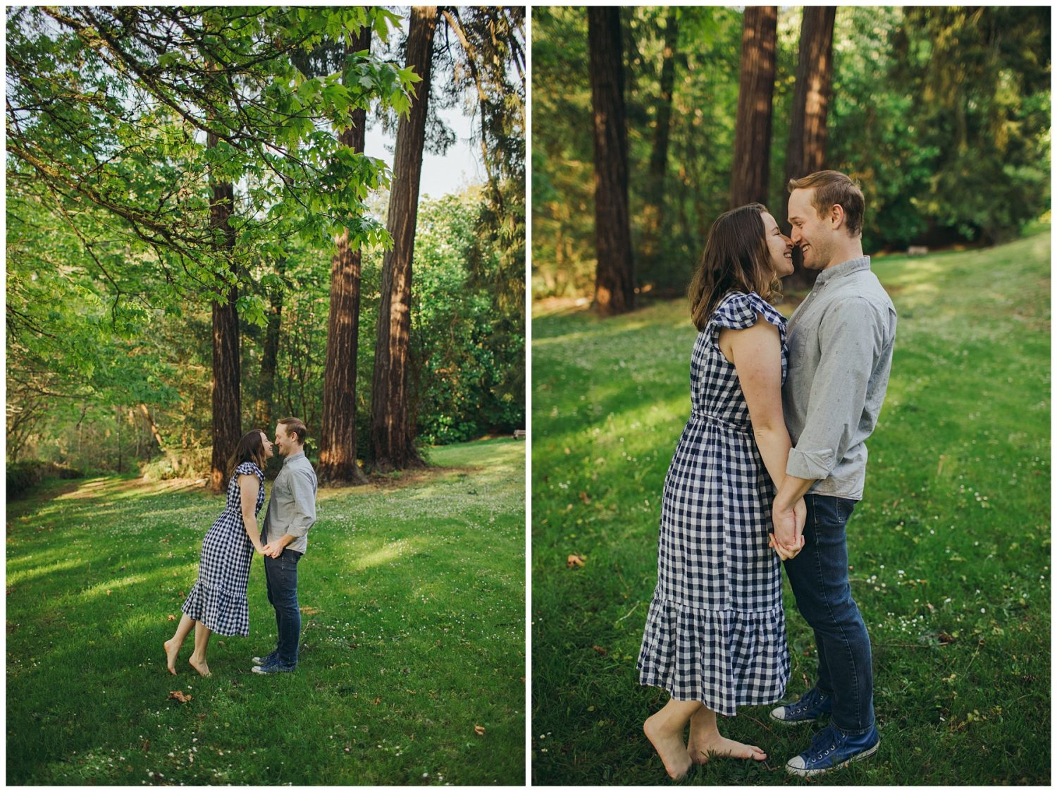Seward engagement session couple standing together to kiss