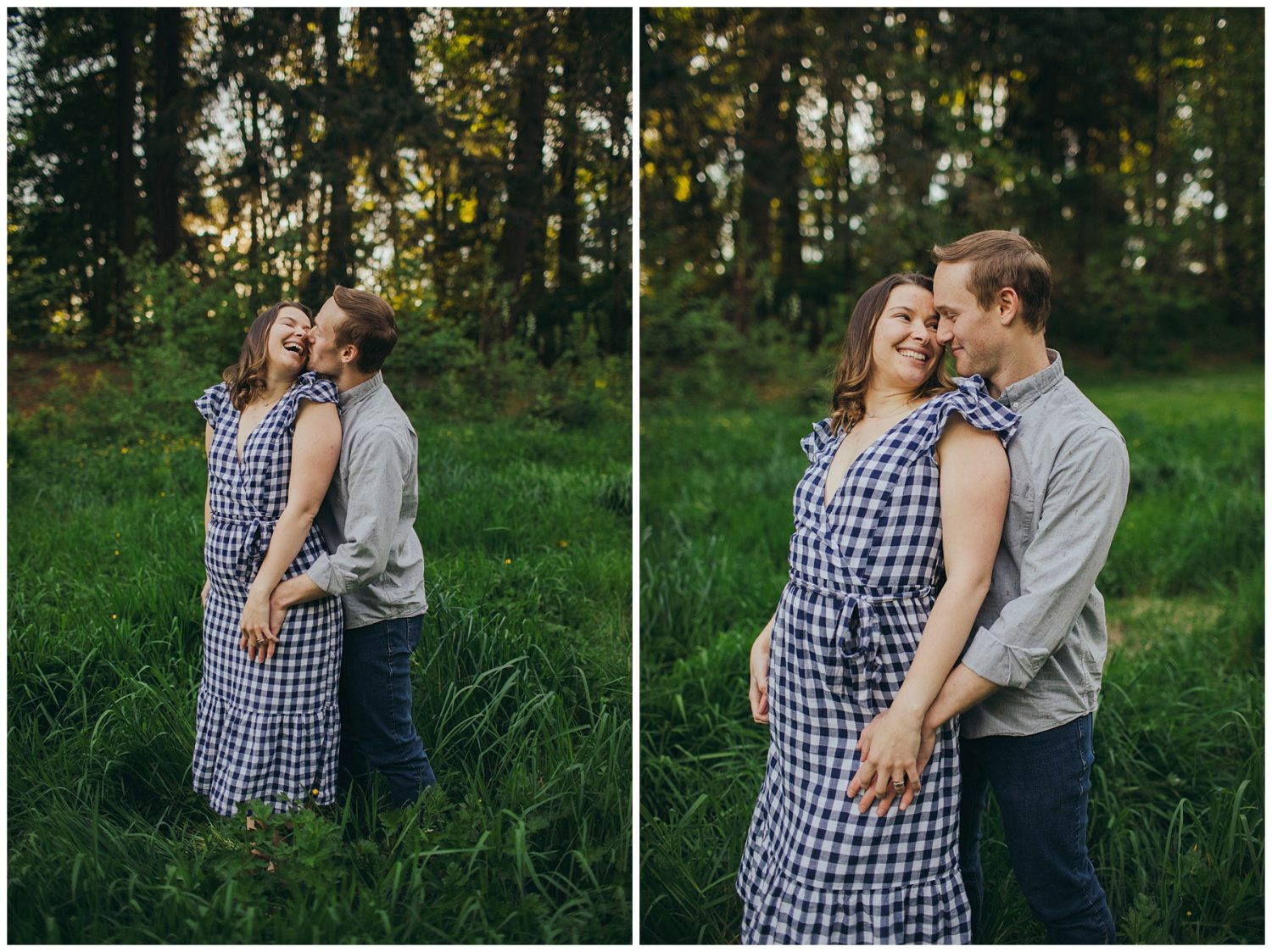 Seward engagement session couple in long grass