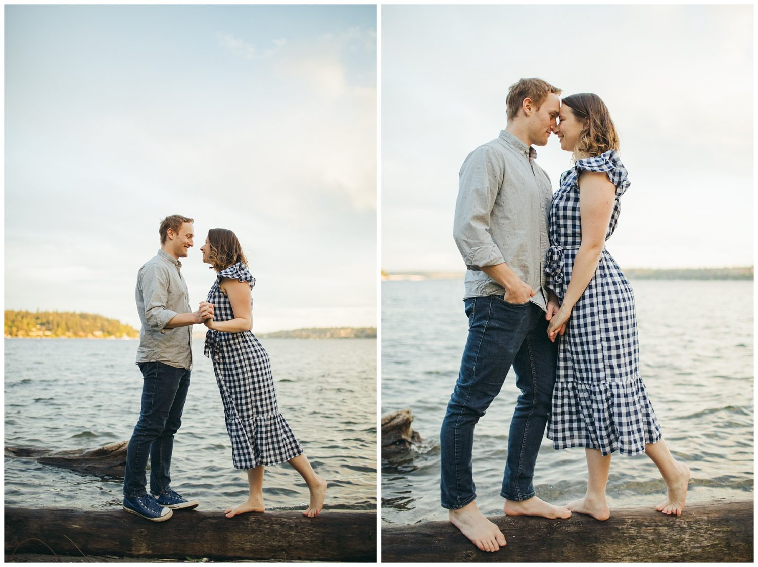 Seward engagement session couple standing on log in water