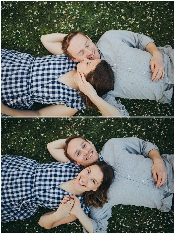 Seward engagement session couple laying grass