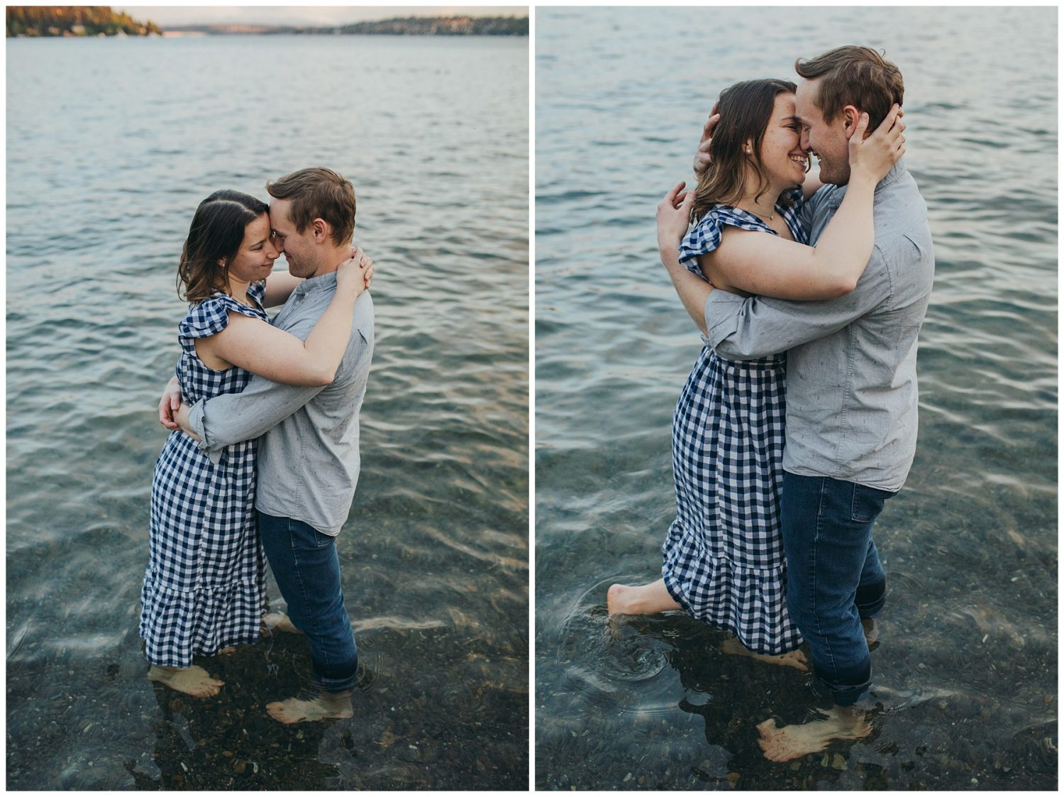 Seward engagement session couple standing in water